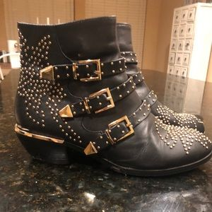 Black vegan leather studded boot